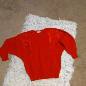 Vintage Christine Red Beaded Sweater